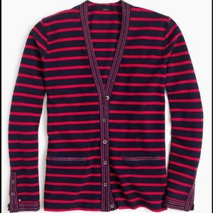 J. Crew Sweaters - NWT J.Crew Metallic Trim Striped Cardigan