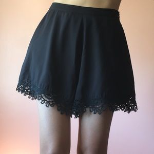 Cameo Pants - Cameo High Waisted Lace Trim Shorts