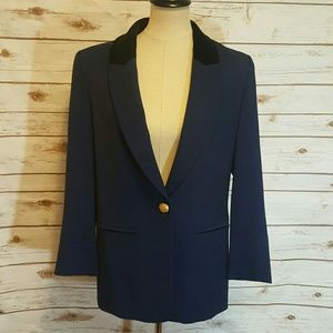 Escada Jackets & Blazers - {vintage} Escada navy blazer with black velvet