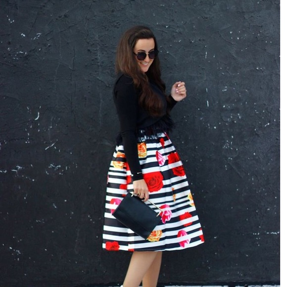 Skirts - Striped and floral skirt