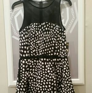 Taylor Dresses & Skirts - Taylor Sheer Top Polka Dot Striped Dress Sz. 4