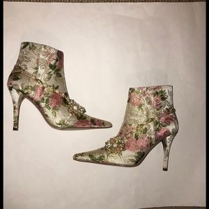 Bakers Shoes - Bakers Heeled Booties Fabric Floral Jeweled Shoe 8