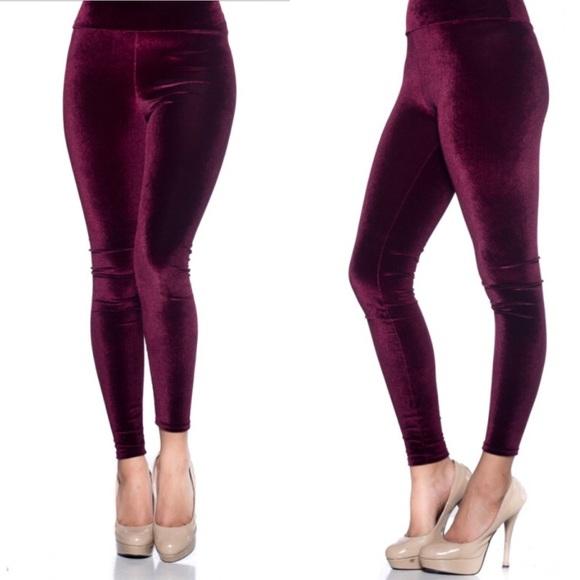 1db6bbff7 Fashionomics Pants | Last Onehigh Waist Maroon Velvet Leggings ...