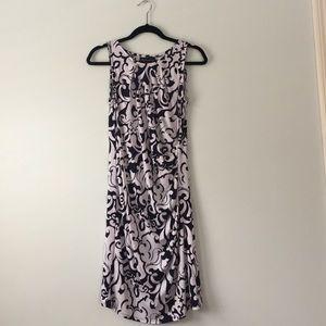 INC navy & white patterned dress