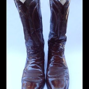 Burgundy Mens Cowboy Leather Boots Dan Post 10D