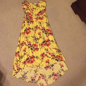 Pretty Rebellious Dresses & Skirts - Strapless Yellow red purple floral  high low maxi