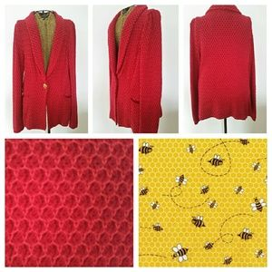 CHARLIE & ROBIN Bee and honey cardigan sweater L