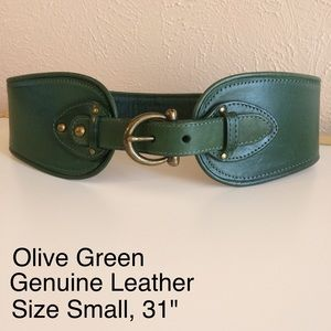Anthropologie Accessories - Anthropologie Olive Green Leather Belt
