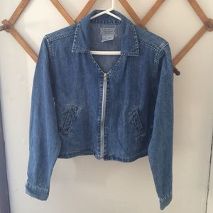 At Last Jackets & Blazers - Cropped Zippered Jean Jacket
