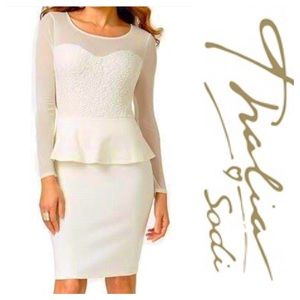 Thalia Sodi White Illusion Peplum Dress ✨