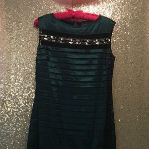 Jeweled trumpet turquoise black gown