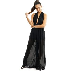 Style Link Miami Pants - BLACK LONG SHEER DEEP V HALTER JUMPSUIT