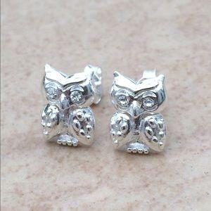 Jewelry - Sterling Silver 925 Crystal Owl Bird Stud Earrings