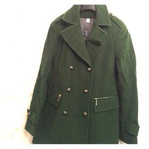 Basler Jackets & Blazers - Green wool Basler pea coat