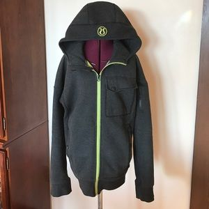 Lululemon Mens Domain Gray Green Hoodie Jacket S