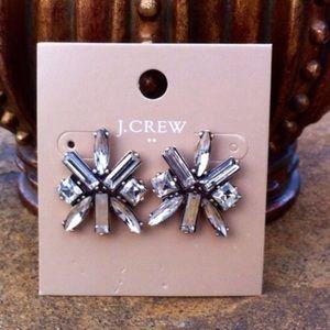 J Crew Factory Starburst Clear Crystal Earrings