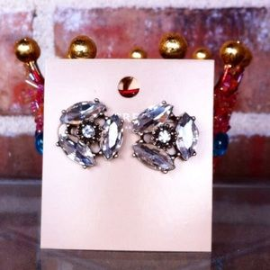 J Crew Factory Crystal Cluster Statement Earrings