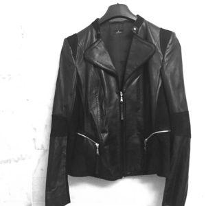 Basler Jackets & Blazers - Black leather & suede moto jacket