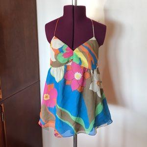 Tibi Silk Floral Halter Top 4