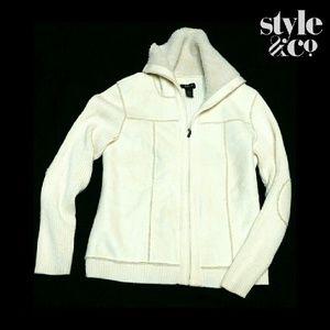 Style & Co Jackets & Blazers - STYLE & CO. CREAM SUEDE LIKE WOOL SWEATER JACKET