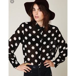 5th Culture Tops - Black and White Polka Dot Blouse