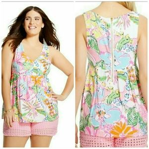 Lilly Pulitzer for Target Tops - Lilly Pulitzer XXL Nosey Posey Print Zip Back Tank