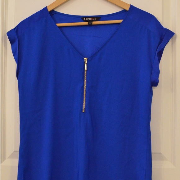 48% off Express Tops - Express Women's Royal Blue Dress Shirt with ...