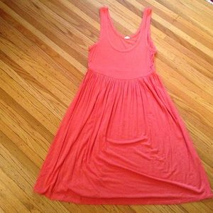 J. Crew coral pink cotton pleated dress
