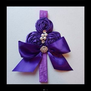 Other - Purple Rose Bow Pearl Headband