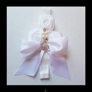 Other - White Rose Bow Headband