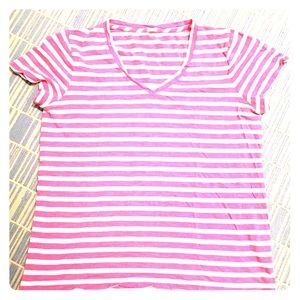 J. Crew Tops - J CREW PINK STRIPED TEE