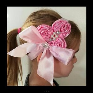 Other - Pink Rose Bow Headband