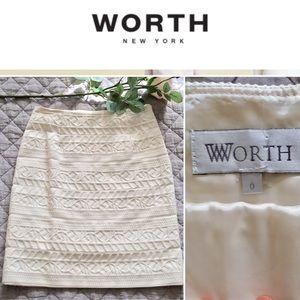 worth new york Dresses & Skirts - Worth New York Winter White Brocade Skirt Size 0