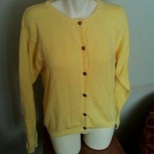 Lilly Pulitzer Yellow Cardigan Sweater M Cotton