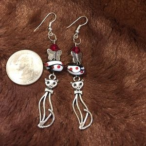 Jewelry - Boutique Silver Tone Kitty Earrings