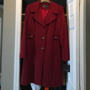 Red, cashmere blend dress coat