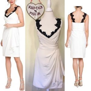 Marchesa Dresses & Skirts - NWT Marchesa Ivory Draped Silk Black Lace Dress💕