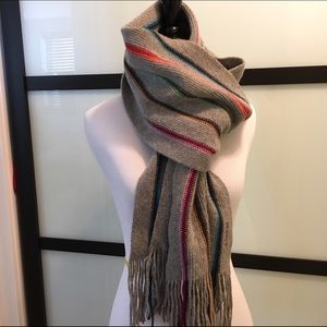 Gant Accessories - Gant 100 wool striped fringe rainbow winter scarf