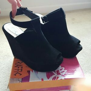 Traffic Shoes - Traffic Peep Toe Black Wedges