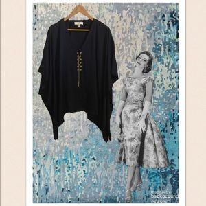 Michael Kors Navy Blue Kimono Top W/Gold Chain