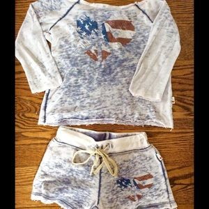 T2 Love Other - Little girls off the shoulder top and shorts