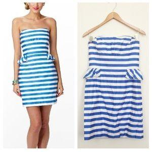 Lilly Pulitzer striped peplum strapless dress