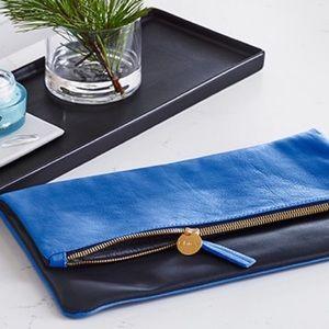 Clare Vivier Handbags - Clare V reversible cobalt and navy blue clutch