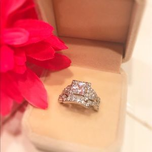Jewelry - Stunning Silver Plate CZ Princess Cut Wedding Set