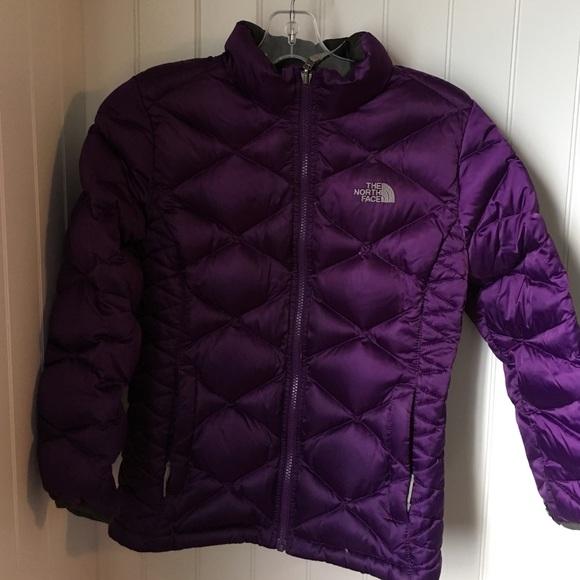 Girls purple puffy north face size large. M 588e3f9d5c12f862ae011e0e 5e1644f80