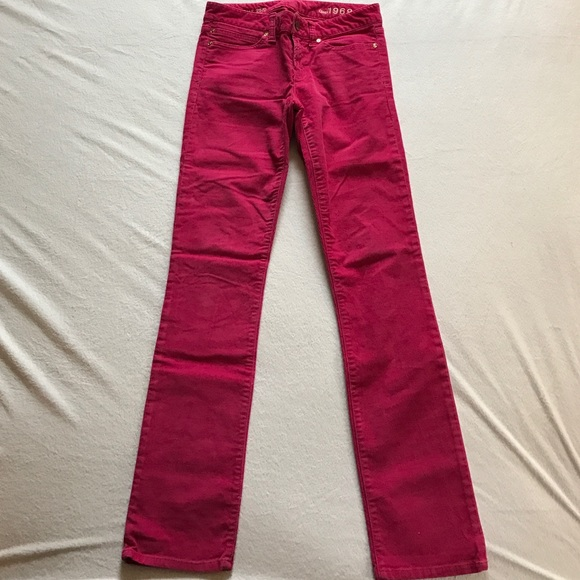 GAP Pants - Gap real straight hot pink corduroy pants.