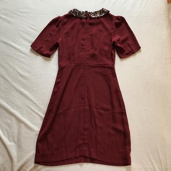 Dresses - H & M burgundy dress with jewel neckline.
