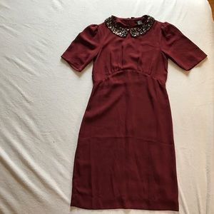 Dresses - H & M burgundy dress with jewel neckline.