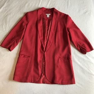 Bar III red 3/4 sleeve lightweight blazer.