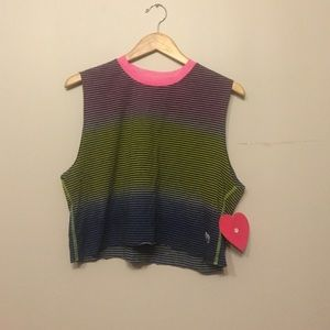 Dirtee Hollywood Other - Cute Pink Yellow and Blue Muscle Tank